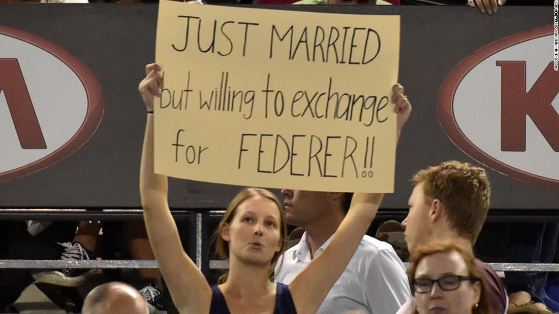 "A fan in Melbourne expresses her adoration for the great Swiss. Federer said he was ""so disappointed"" to miss both the Rotterdam and Dubai tournaments because they are ""two of my favorite tournaments on the ATP World Tour."""