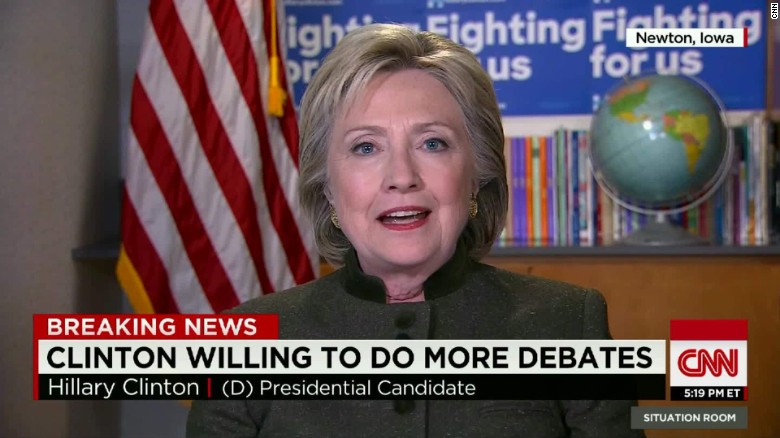 Hillary Clinton says she's prepared to do more debates
