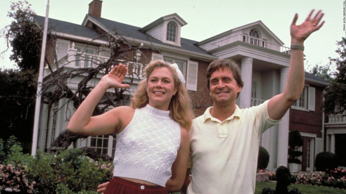 "A formerly happy couple played by Kathleen Turner and Michael Douglas bust up in spectacular fashion in ""War of the Roses."" Their fight over the posh family home grows increasing deranged as the film progresses."