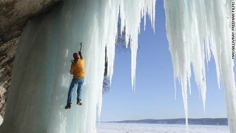 Conrad Anker climbs frozen waterfalls in Pictured Rocks National Lakeshore in Michigan.