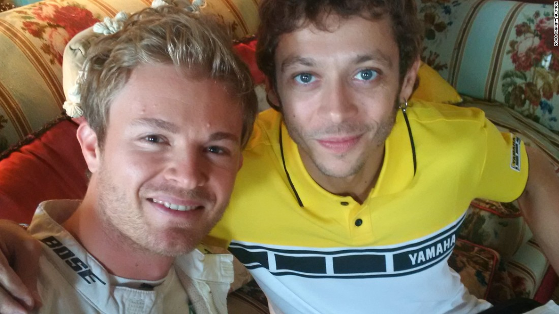 "Mercedes teammate Nico Rosberg managed to find another star from the world of motorsport, multiple MotoGP champion Valentino Rossi, for a selfie. Rosberg adds: ""I really love the Goodwood Festival of Speed because I very much like old-timers. I was sitting in the library when Valentino joined me and we ate lunch together. We get along very well and it is rare to have time to chat in a relaxed atmosphere.""<br />"