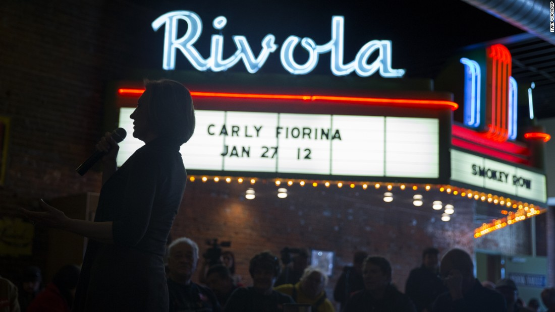 Republican presidential candidate Carly Fiorina speaks during a campaign stop in Oskaloosa, Iowa, on Wednesday, January 27.