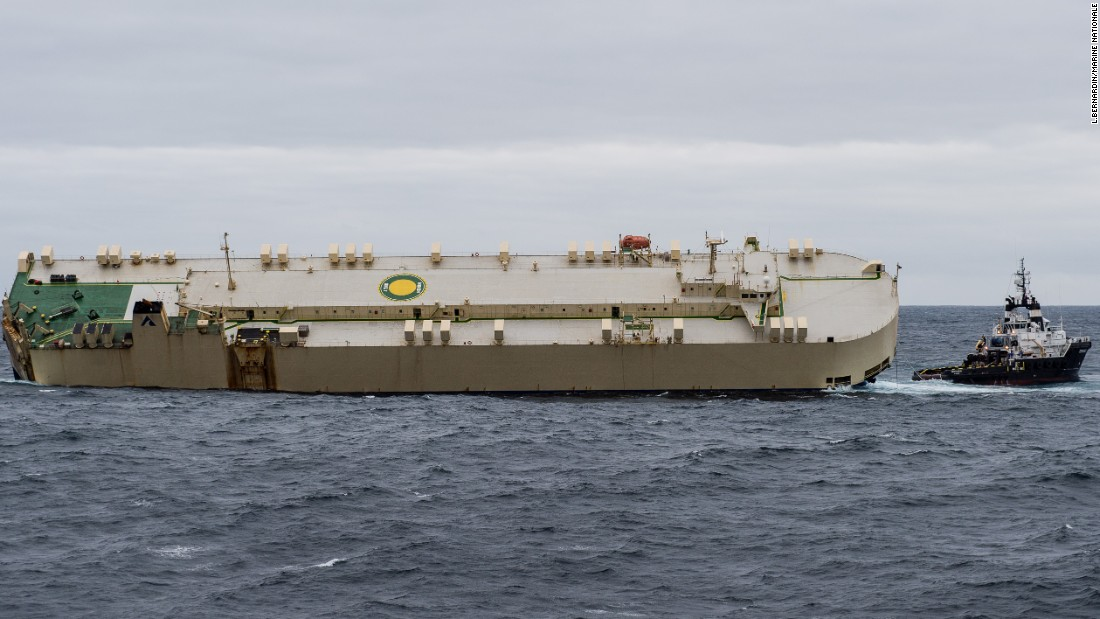 Its 22-member crew safely ashore, the listing cargo ship Modern Express floats free off the French coast on Saturday