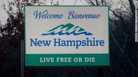 The New Hampshire state sign is seen on Route 93 north November 6, 2015 in Salem, New Hampshire.