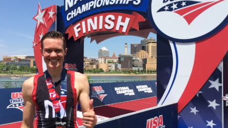 Chris Mosier after finishing competing at the national duathlon trials