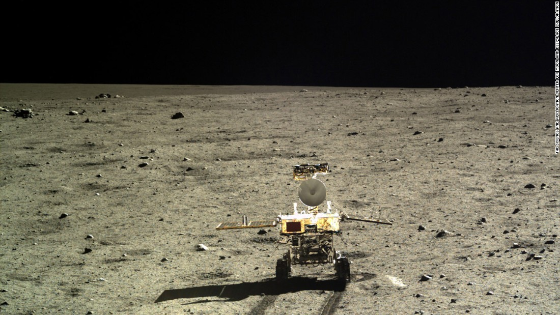 "China has released hundreds of high-resolution photos taken by its Chang'e-3 lunar lander and rover. The rover, known as the ""Jade Rabbit,"" is pictured here on the moon's surface."