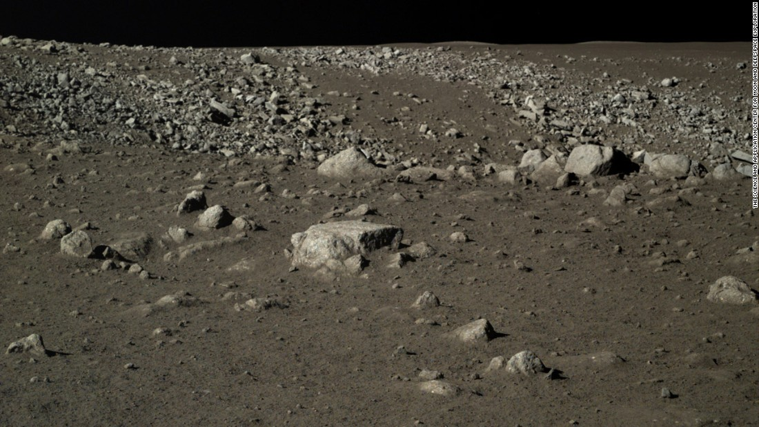 Rocks on the moon's surface captured by the Jade Rabbit lunar rover.