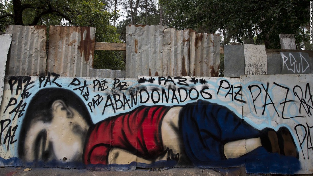 In Brazil, street artists create a mural depicting Kurdi.