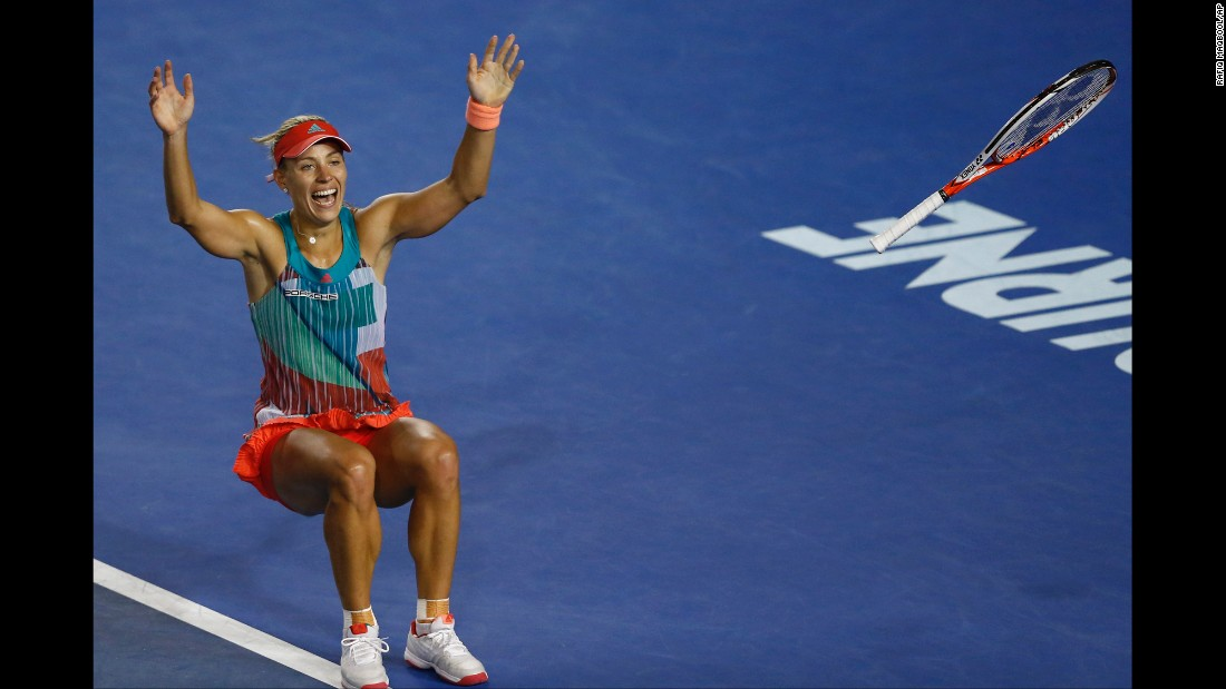 "Angelique Kerber celebrates after she defeated top-seeded Serena Williams <a href=""http://www.cnn.com/2016/01/30/tennis/australian-open-tennis-serena-williams-angelique-kerber/index.html"" target=""_blank"">to win the Australian Open</a> on Saturday, January 30. It is the first Grand Slam title for Kerber, who was seeded seventh in the tournament."