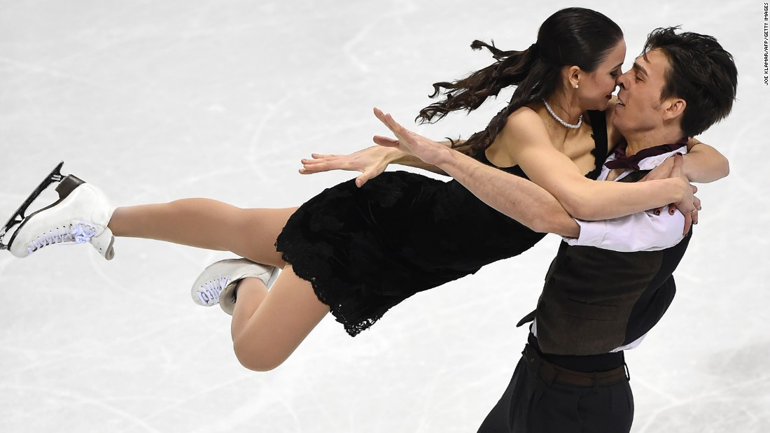 Slovakian ice dancers Federica Testa and Lukas Csolley compete at the European Figure Skating Championships on Saturday, January 30.