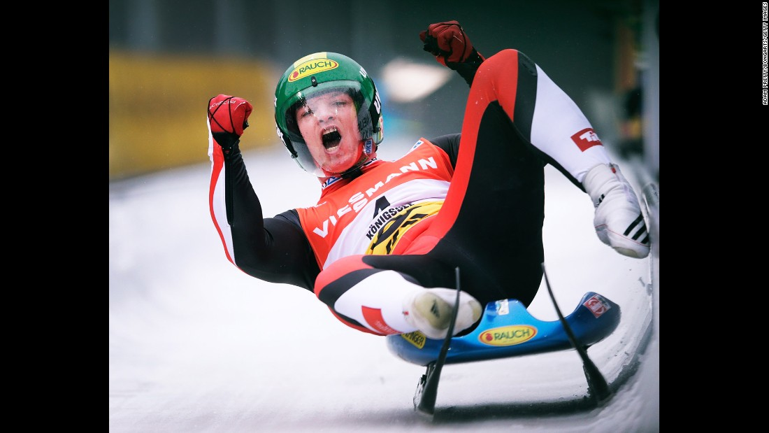 Austrian Wolfgang Kindl celebrates Sunday, January 31, after he finished in third place at the World Luge Championships in Königssee, Germany.