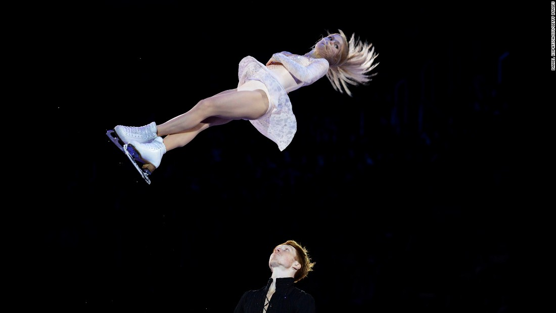 Russian figure skaters Evgenia Tarasova and Vladimir Morozov perform Sunday, January 31, during the gala exhibition of the European Figure Skating Championships.