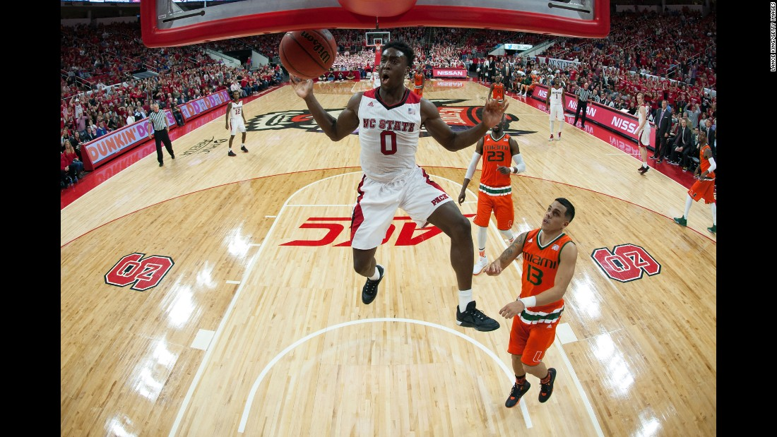 North Carolina State's Abdul-Malik Abu dunks the ball against Miami on Saturday, January 30.