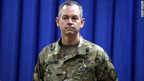 Lt. Gen. Sean MacFarland is introduced as the new commander General of the US led coalition in Iraq on October 1, 2015 in Baghdad, Iraq.