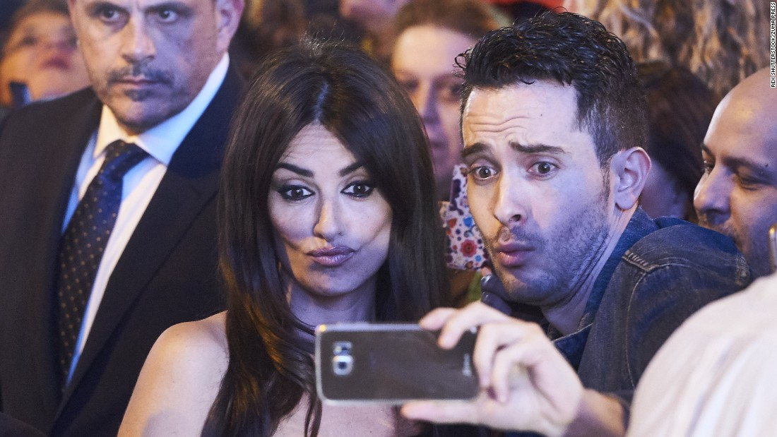 "Actress Penelope Cruz takes a selfie with a fan at the Madrid premiere of ""Zoolander 2"" on Monday, February 1."