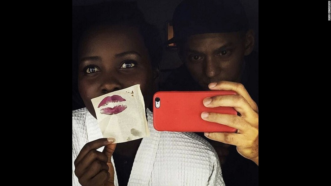 "Actress Lupita Nyong'o <a href=""https://www.instagram.com/p/BBDWmE8HuTN/"" target=""_blank"">gets playful in the makeup chair</a> on Wednesday, January 27."