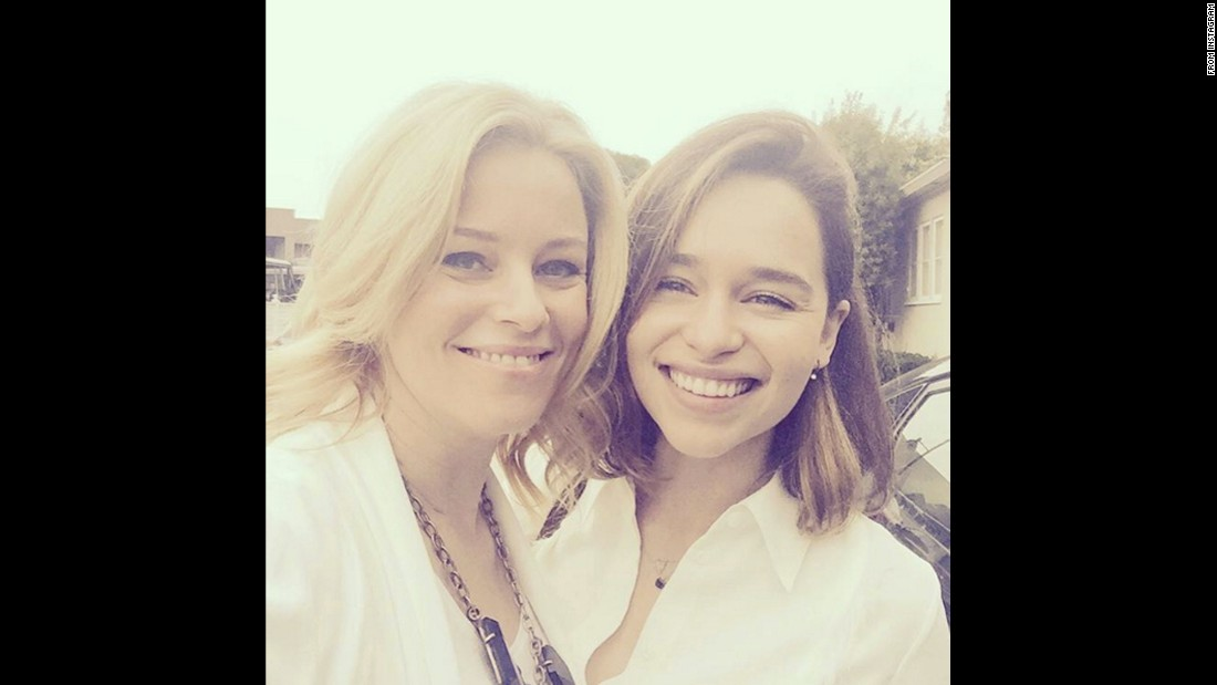 "Elizabeth Banks, left, <a href=""https://www.instagram.com/p/BBDSt9jJXQX/"" target=""_blank"">takes a selfie</a> with fellow actress Emilia Clarke on Wednesday, January 27. ""Mother of Dragons came to visit,"" Banks said, referring to Clarke's role on ""Game of Thrones."""