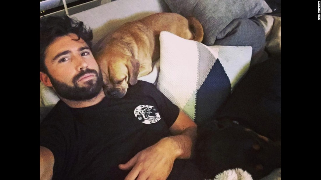 """That time when you can't move because you don't want to disturb your pups,"" <a href=""https://www.instagram.com/p/BBRITBuMIF-/"" target=""_blank"">television personality Brody Jenner said on Instagram</a> on Monday, February 1."