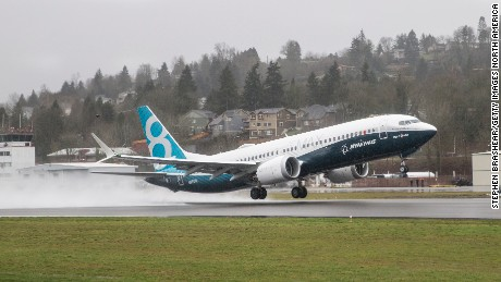 RENTON, WA - JANUARY 29: A Boeing 737 MAX 8 airliner lifts off for its first flight on January 29, 2016 in Renton, Washington. The 737 MAX is the newest of Boeing's most popular airliner featuring more fuel efficient engines and redesigned wings. (Photo by Stephen Brashear/Getty Images)