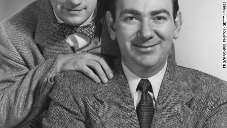 TV and radio comedy duo Bob and Ray, Bob Elliot (left) and Ray Goulding (1922 - 1990), 1951. (Photo by FPG/Hulton Archive/Getty Images)