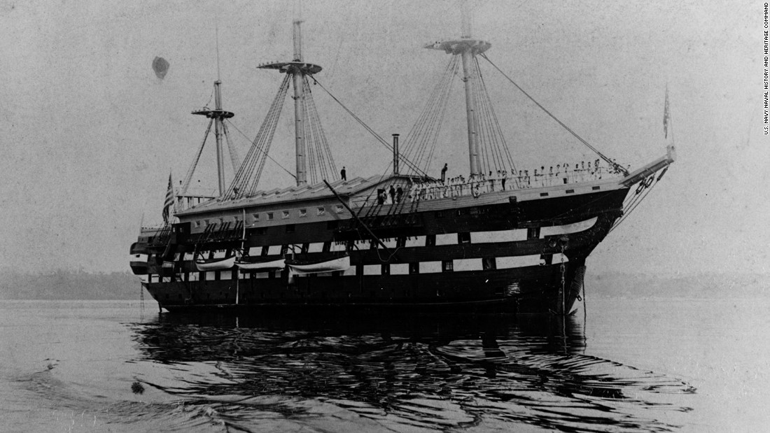 The first USS New Hampshire was commissioned in 1864.  It had previously been named the USS Alabama from 1816 to 1864 and was renamed the Granite State from 1908 to 1921.