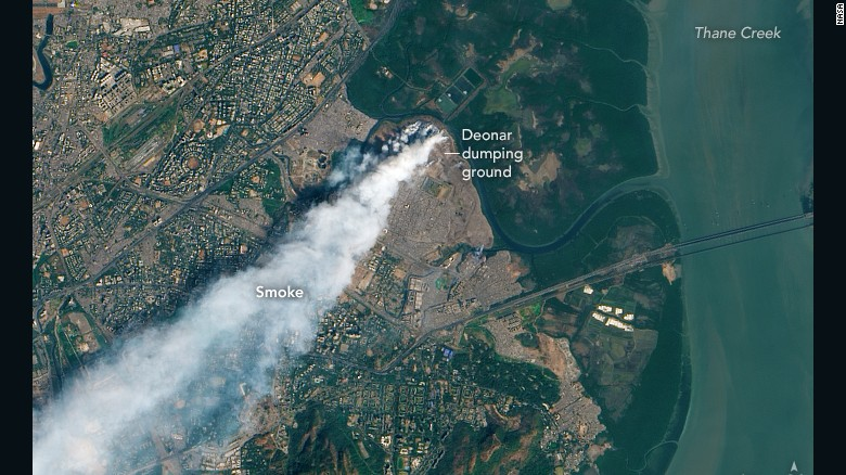 Huge garbage fire can be seen from space