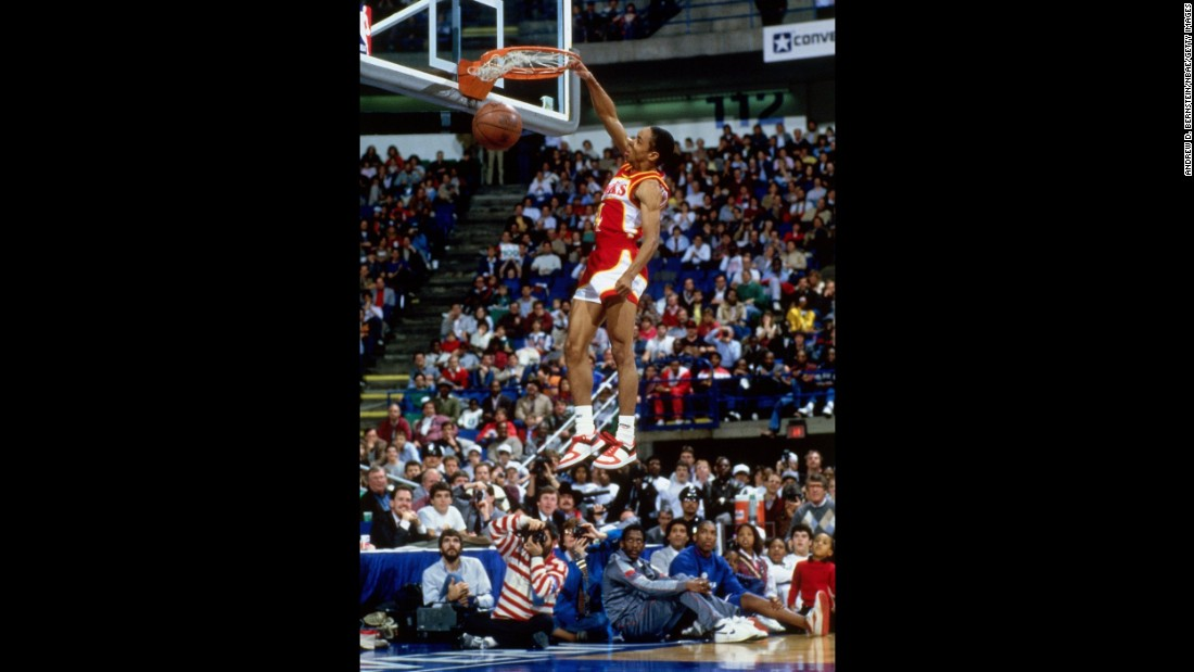 Wilkins was dethroned in the finals by one of the shortest players in league history -- his 5-foot-7-inch Atlanta Hawks teammate, Spud Webb. Webb, competing in his hometown of Dallas, showed off his amazing vertical leap and proved that dunks are not only for the tall guys. (Wilkins is 6-foot-8.)