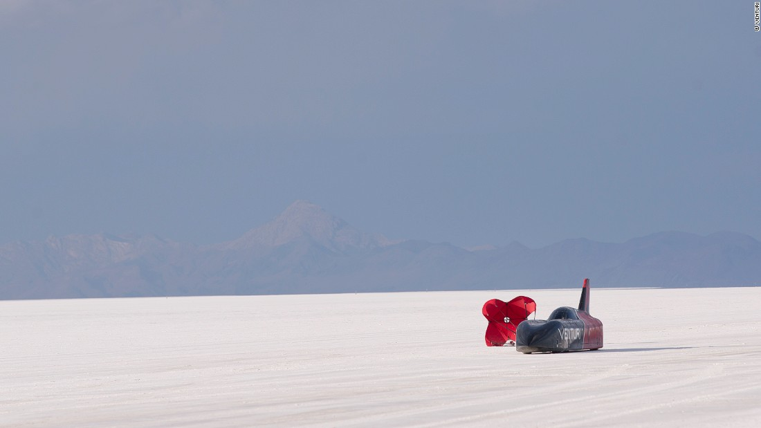 "A parachute is required to stop the Venturi VBB-3. ""The road is prepared, but you always have some bumps,"" says Biscaye. ""The driver has to go every morning -- sometimes twice, three times a day -- and see the track, and see where he needs to go to take the best trajectory. It seems very simple, but it's incredibly tricky."""