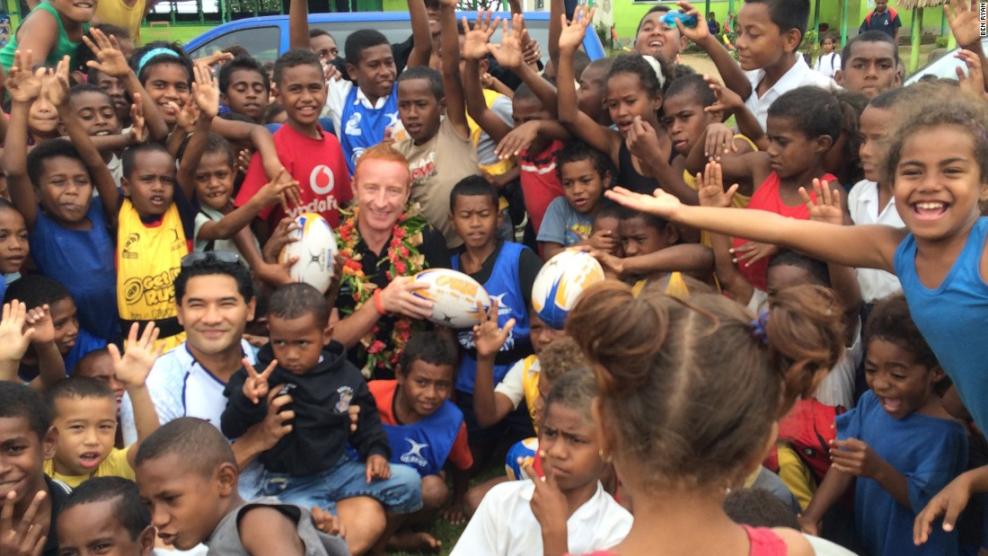Rugby coach Ben Ryan has become something of a celebrity in his adopted country Fiji, where he is mobbed wherever he goes.