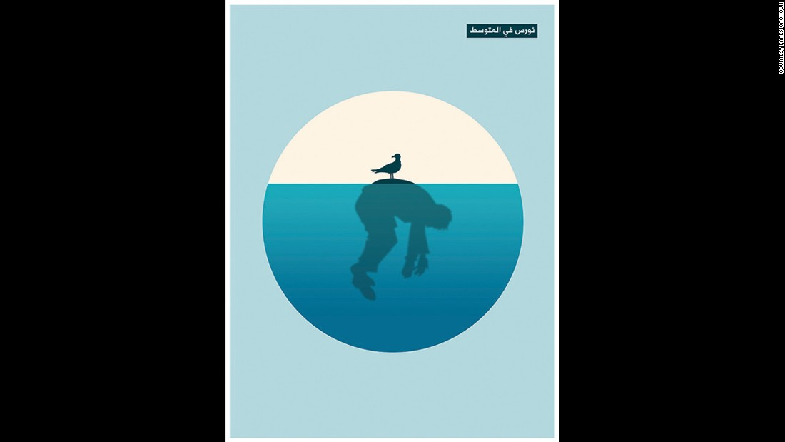 "The posters by Fares Cachoux are simple and haunting. Though he was living abroad as the civil war broke out in his homeland, he wanted to show the world the stories coming out of Syria. His most recent poster reflects on what the International Organization for Migration says were nearly 1 million refugees who have attempted to cross the Mediterranean in 2015 for safer land. Half of these people are Syrian. ""The sea graveyard for countless Syrians attempting to cross to escape DEATH. ... She awaits in the depths of the waves of the Mediterranean,"" the caption reads in French below the work he sent to CNN."