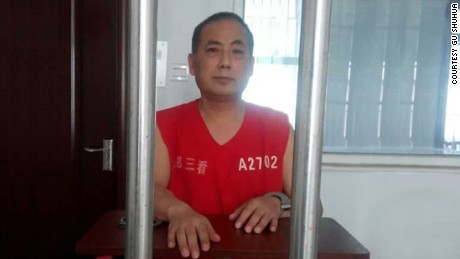 Dissident Dong Guangping was detained in China in 2014. He was allowed to see his lawyer on September 5, 2014, when this photo was taken.
