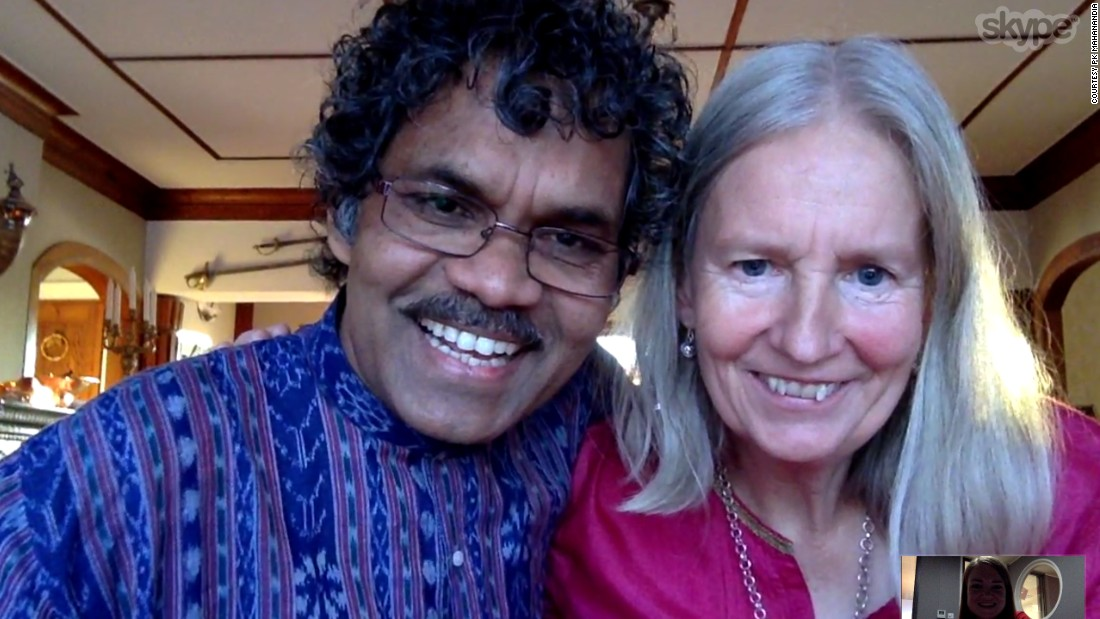 Mahanandia and Von Schedvin got married after his long-awaited arrival in Sweden. The couple have been together for nearly 40 years and have two children, Sid and Emelie. Pictured, on a Skype interview from their home in Sweden.