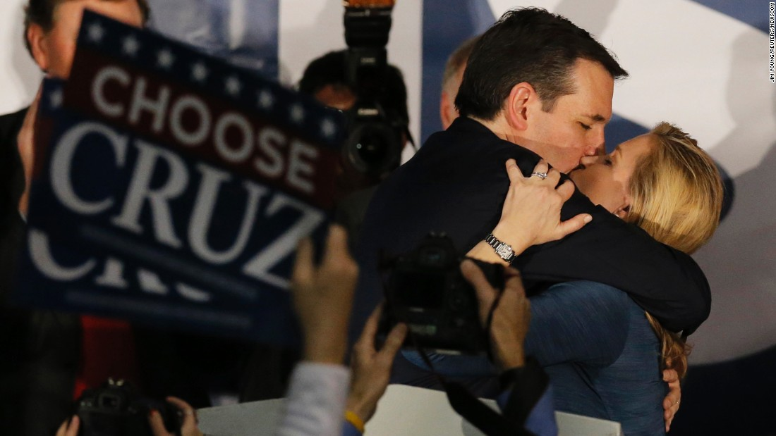 "Republican presidential candidate Ted Cruz kisses his wife Heidi at a rally in Des Moines after <a href=""http://www.cnn.com/2016/02/01/politics/iowa-caucuses-2016-highlights/index.html"" target=""_blank"">winning the Iowa caucuses</a> on Monday, February 1."