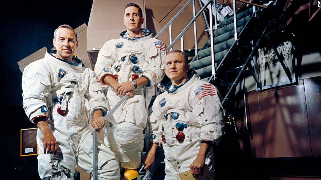 Apollo 8 was the first manned spacecraft to reach the moon. The mission was designed to test the spacecraft and crew, but it did not include a lunar landing. From left are crew members James Lovell, William Anders and Frank Borman.