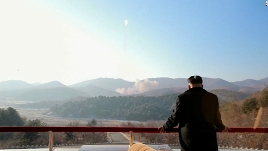 North Korean leader Kim Jong Un looked on as the rocket blasted off.