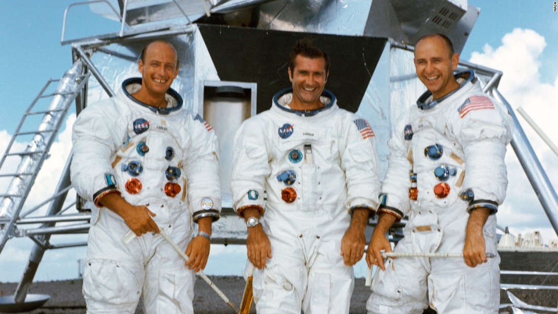 The crew of Apollo 12, from left, were Charles Conrad, Richard Gordon and Alan Bean. Conrad and Bean walked on the moon. Gordon stayed on the command module. The mission launched November 14, 1969, landed on the moon November 19 and returned to Earth on November 24.