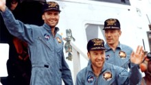 "The crew of Apollo 13 after splashdown, from left to right: Fred Haise, Jim Lovell, and John Swigert. Apollo 13 was scheduled to be the third lunar landing mission. The crew launched on April 11, 1970, but two days later and about 205,000 miles from Earth the service module oxygen tank ruptured, crippling the spacecraft. ""Houston, we've had a problem,"" Lovell said. Instead of landing, the crew did a flyby and came home, safely splashing down in the Pacific on April 17. Lovell's book ""Lost Moon"" became the basis for the motion picture ""Apollo 13."""