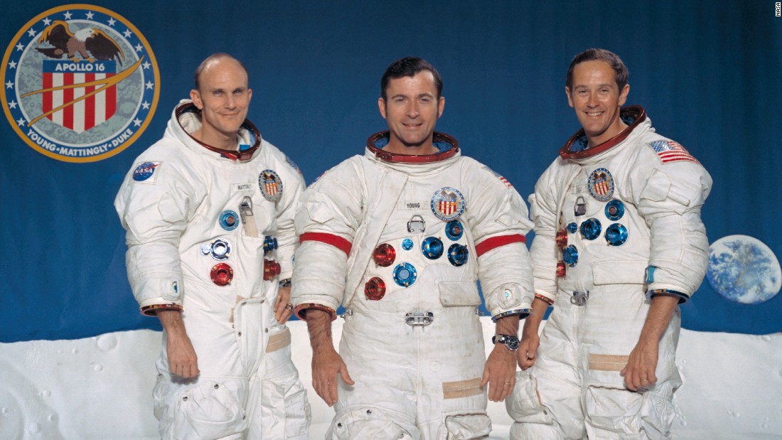 The Apollo 16 crew, from left: Thomas Mattingly, John Young and Charles Duke. Young and Duke walked on the moon while Mattingly stayed in the command module. The mission launched on April 16, 1972, landed on the moon April 20 and returned to Earth on April 27.