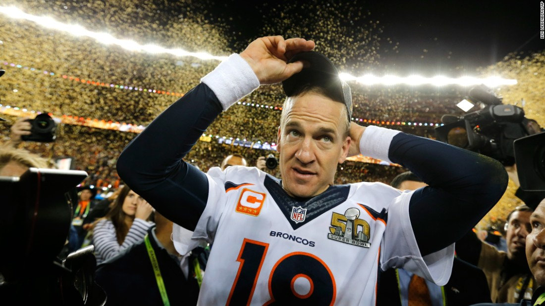 Quarterback Peyton Manning walks off the field after the Denver Broncos defeated the Carolina Panthers 24-10 in Super Bowl 50 on Sunday, February 7. It is the second Super Bowl title of Manning's illustrious career.