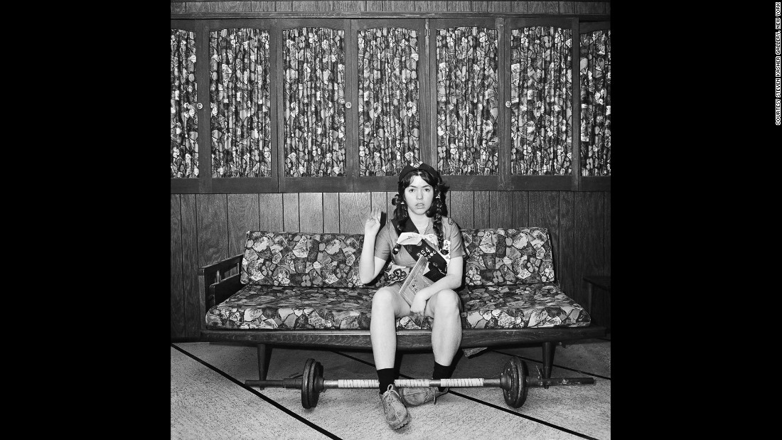 This self-portrait of Meisler saying the Girl Scout Promise was taken in North Massapequa, New York, in January 1975. Meiser was born in the South Bronx and raised in North Massapequa, a hamlet on Long Island.