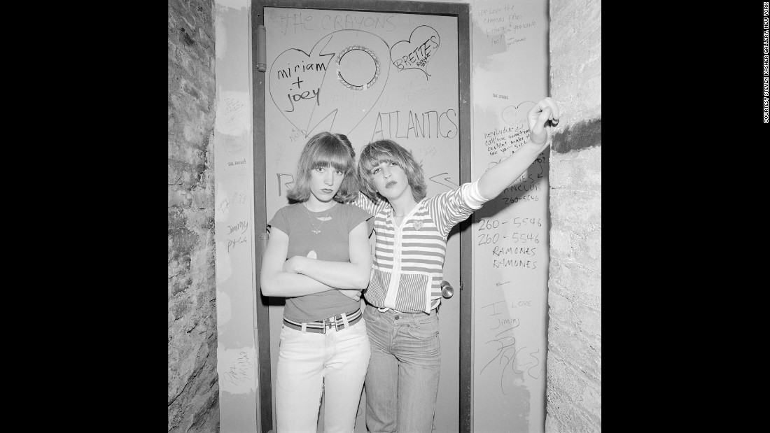 Two band members are photographed at CBGB, a famous New York City club, in March 1977.