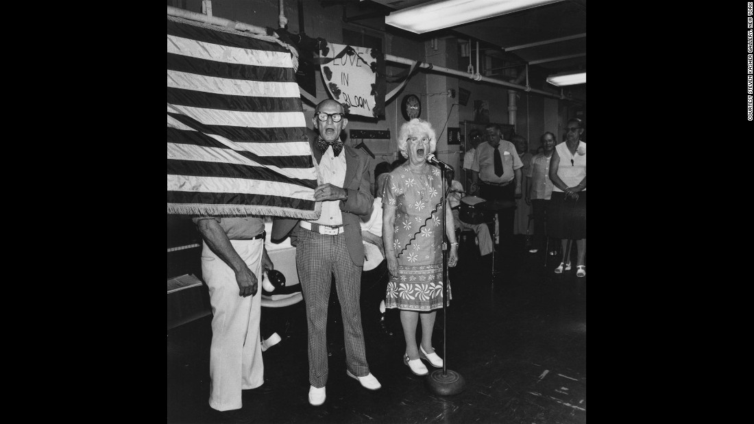 "People sing ""God Bless America"" at a New York City senior center in 1978."