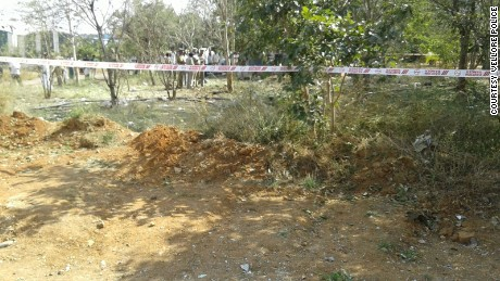 Police roped off the impact site at Bharathidasan Engineering College in India's Tamil Nadu state.