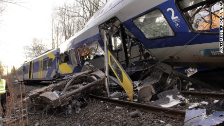 Trains collide head-on in Germany