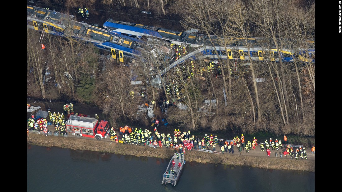 An aerial view of rescue workers at the collision site.