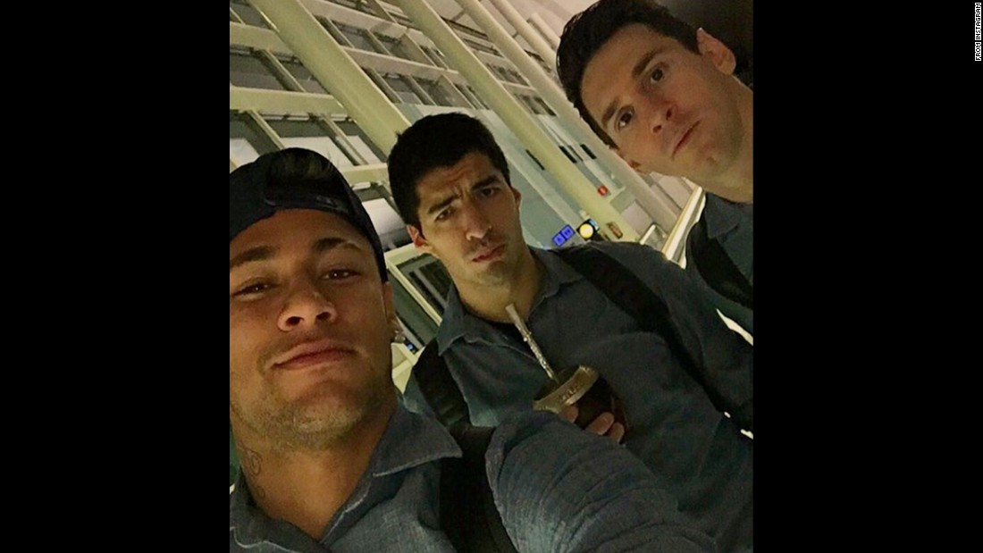 "Brazilian soccer star Neymar, left, <a href=""https://www.instagram.com/p/BBdGWEYRtk3/"" target=""_blank"">takes a selfie </a>with his Barcelona teammates Luis Suarez, center, and Lionel Messi on Saturday, February 6."