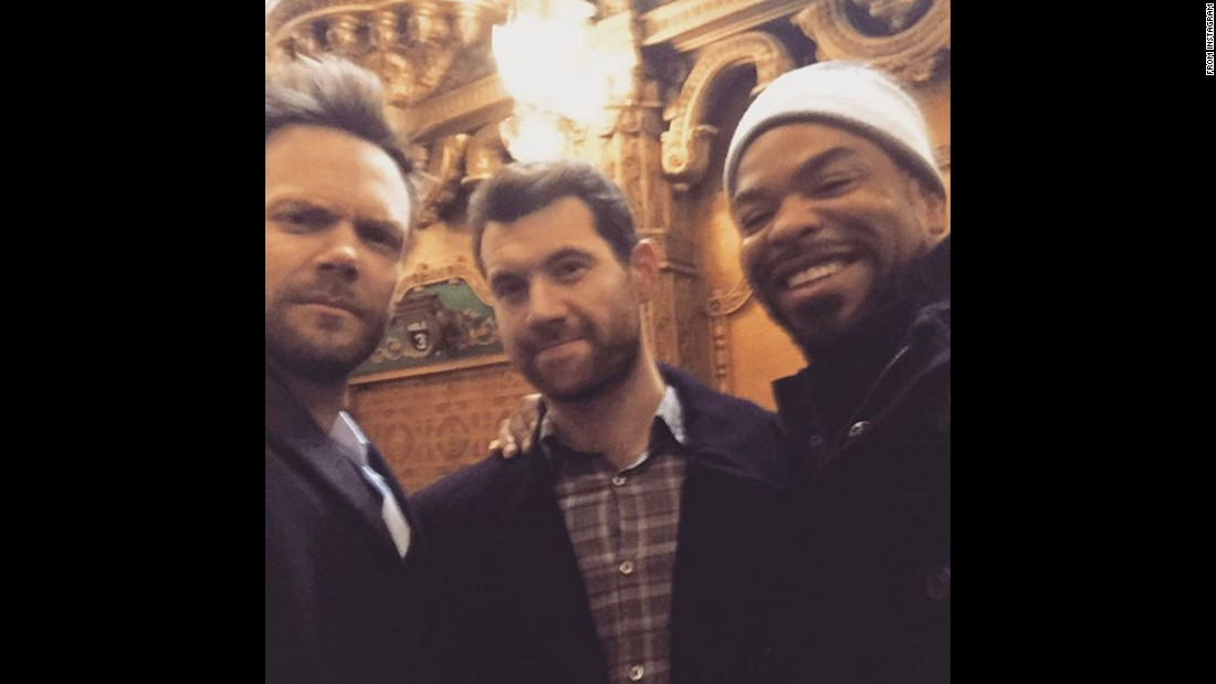 "Joel McHale, left, takes a photo with fellow comedian Billy Eichner, center, and rapper Method Man on Monday, February 8. ""I make all sets this blurry,"" <a href=""https://www.instagram.com/p/BBjTu0KBXrN/"" target=""_blank"">McHale joked on Instagram.</a>"