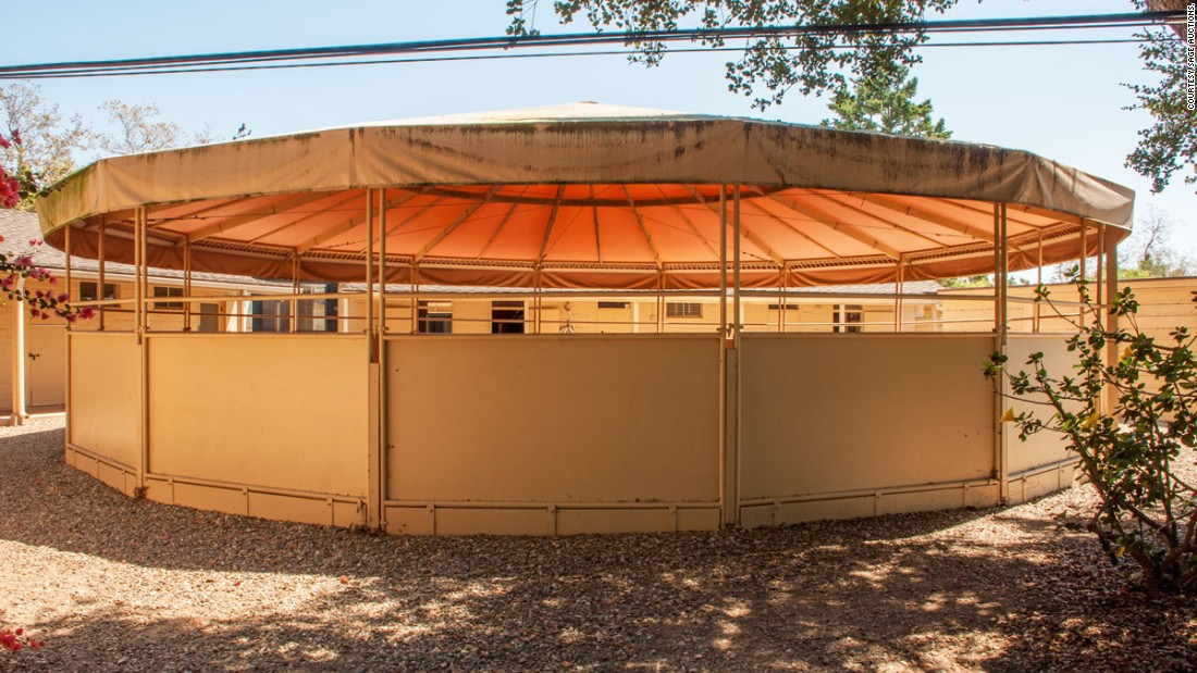 A covered round pen, also for horses, pictured on the property.