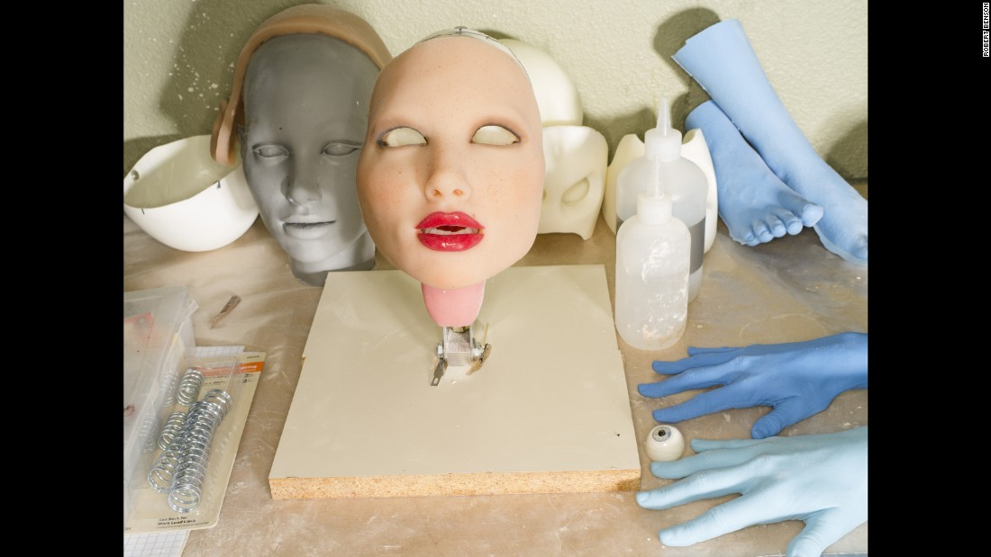 An interchangeable face of a RealDoll is seen at a sex-doll factory in San Marcos, California. The face attaches to the body via magnets.