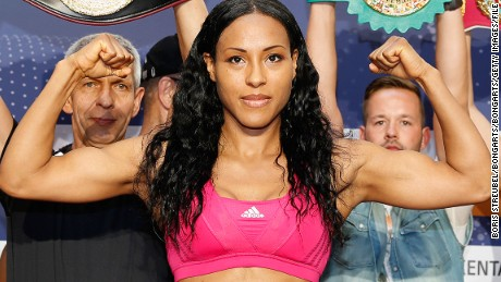 SCHWERIN, GERMANY - JUNE 06:  Cecilia Braekhus of Norway poses during the official weigh in for her WBA WBC WBO female welterweight championship title fight against Jessica Balogun of Germany at Schlosspark-Center on June 6, 2014 in Schwerin, Germany.  (Photo by Boris Streubel/Bongarts/Getty Images)